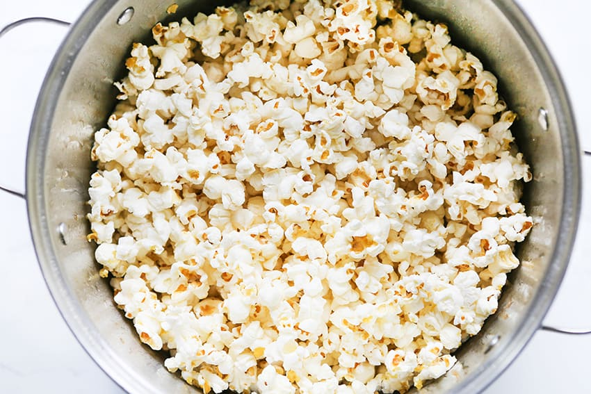 top view of popped popcorn in a large saucepan
