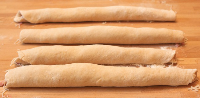 dough rolled up into cyllinders