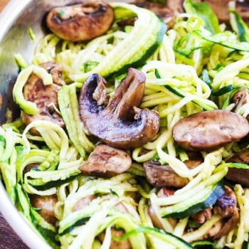 pan of sauteed zoodles with mushrooms