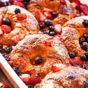 Close up shot of mixed berry croissant casserole.