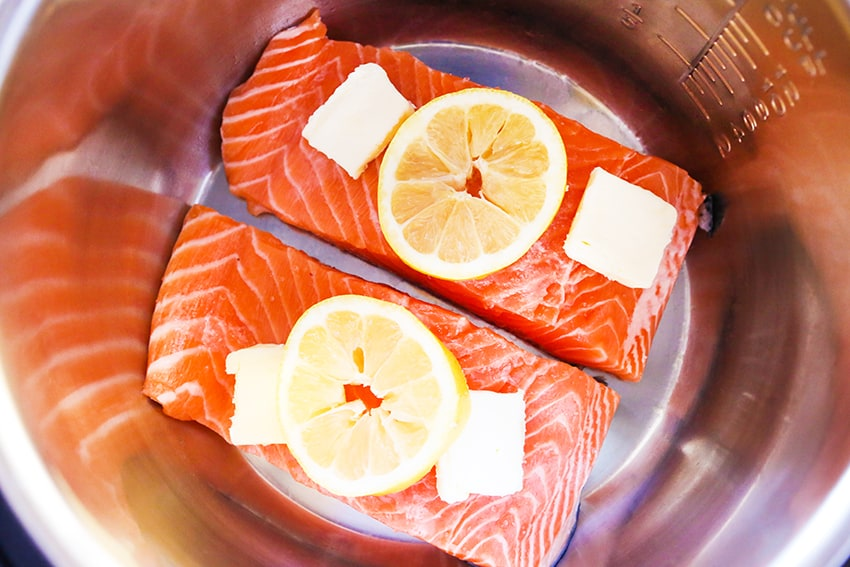 uncooked salmon fillets ready to cook in air fryer