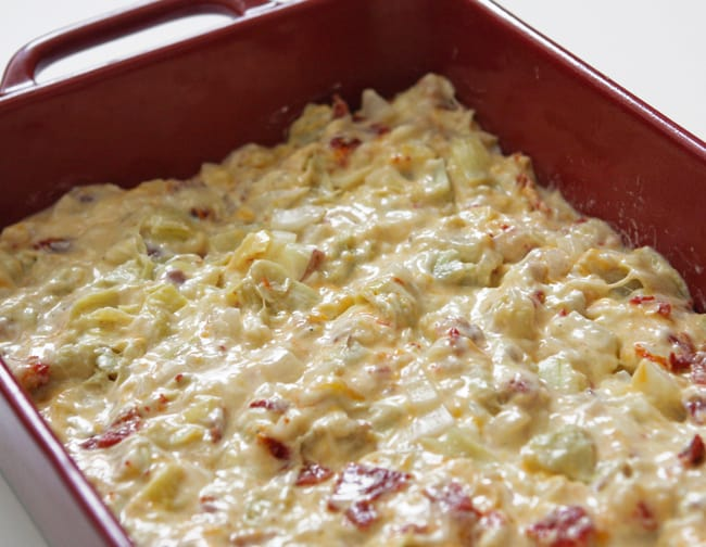 potato mixture in pan ready for baking