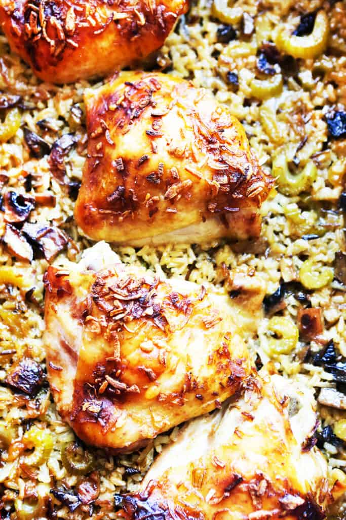 chicken and rice in a casserole dish