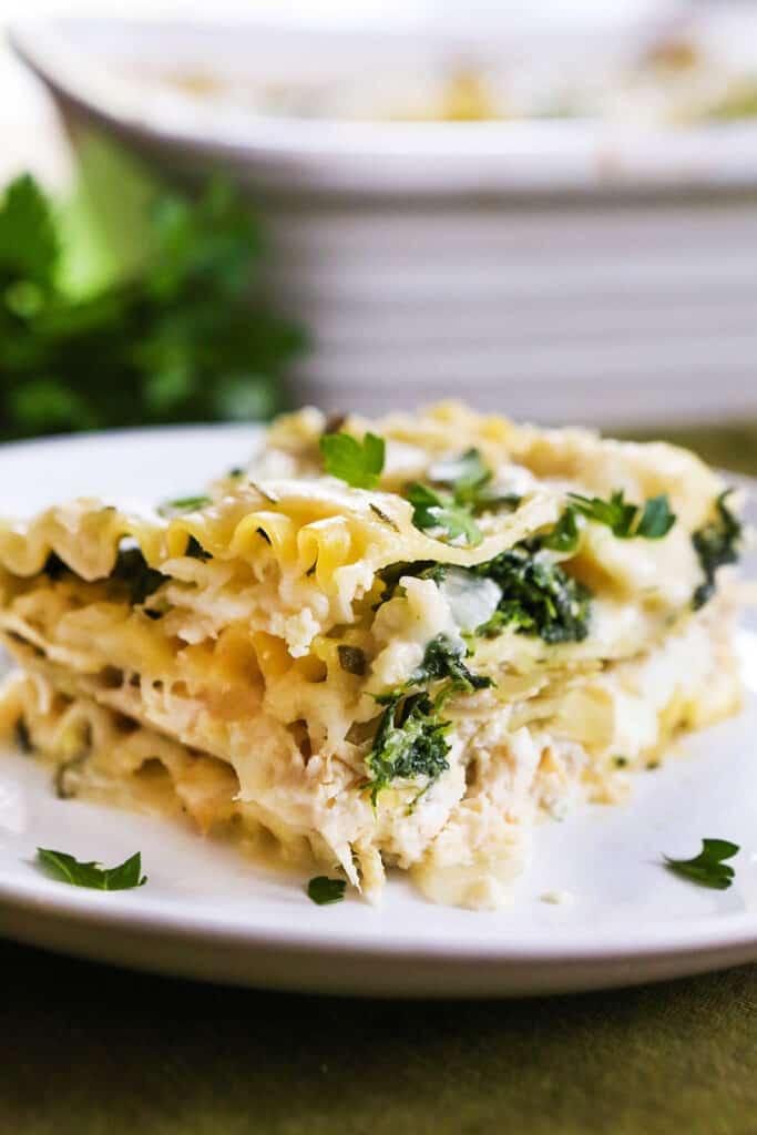 piece of white lasagna on plate sitting next to baking dish