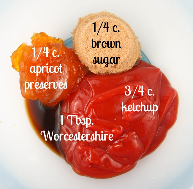 sauce ingredients with text labels in a mixing bowl