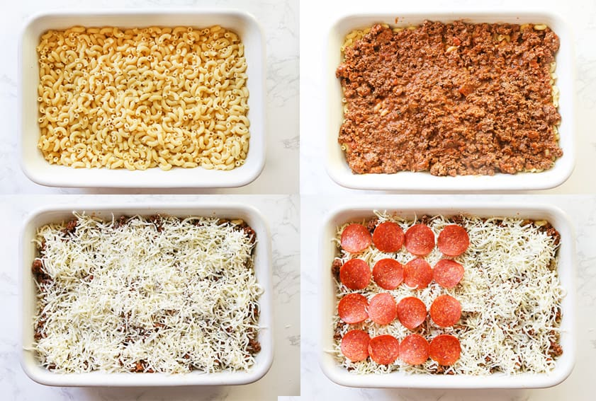 compilation of process photos that show how to layer this casserole