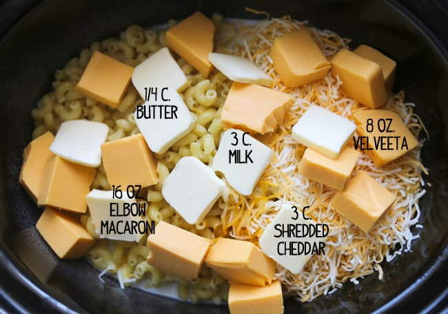 mac and cheese ingredients with text labels in a crockpot before cooking