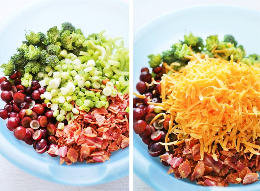 compilation of photos with ingredients in a bowl like grapes broccoli and cheese