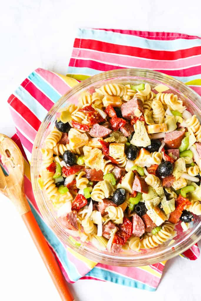 bowl of pasta salad on a colorful placemat