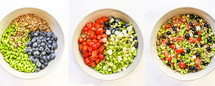 compilation of three bowls filled with salad ingredients