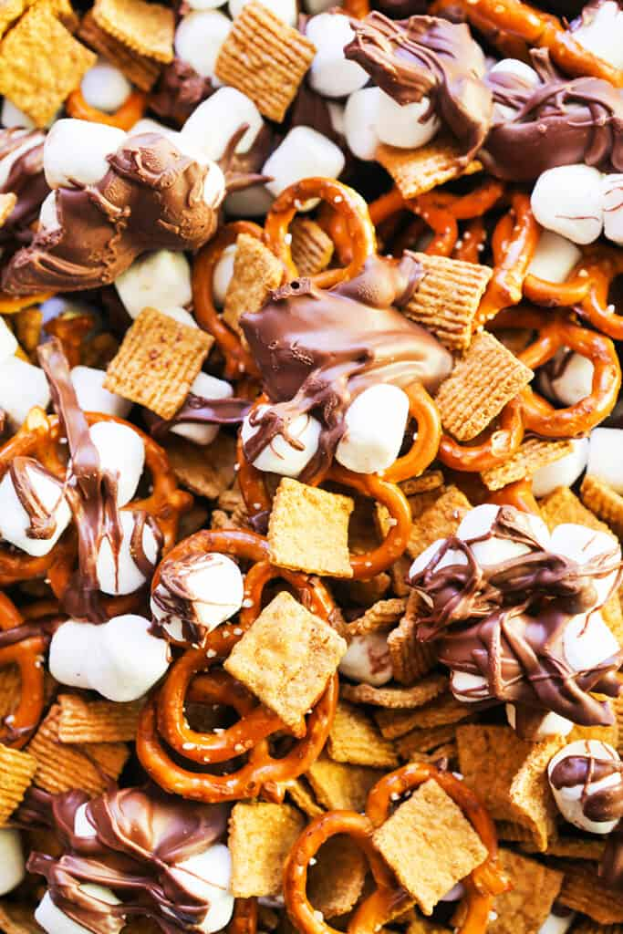 close up top view of s'mores snack mix
