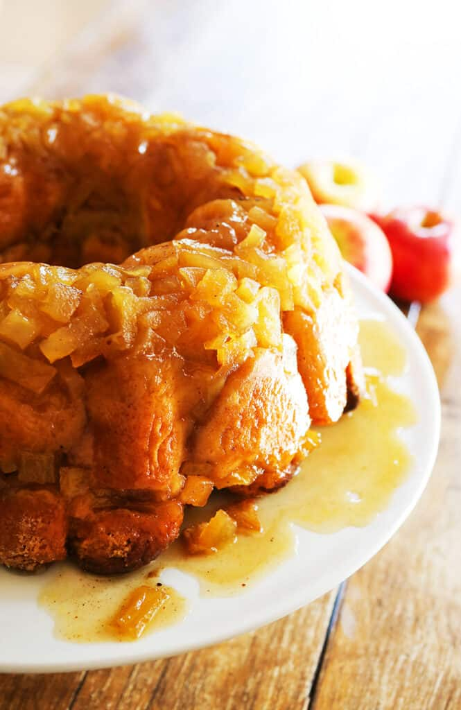 perfect loaf of apple pie monkey bread on serving platter