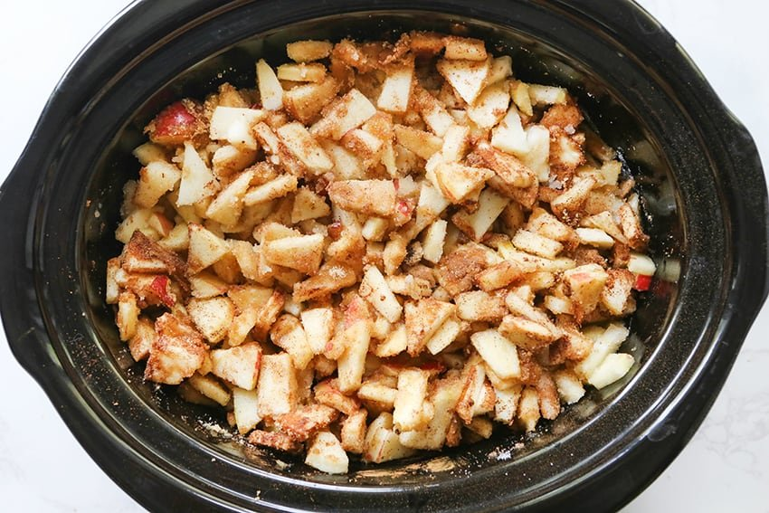 mixed ingredients in a crockpot before cooking