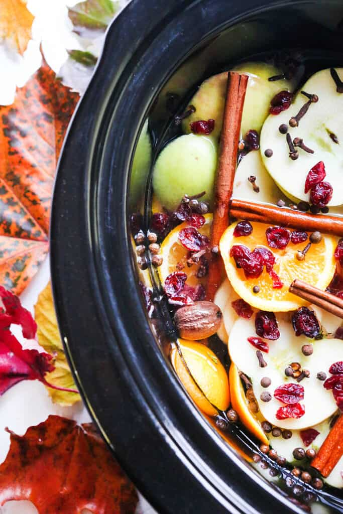 looking down into a crockpot filled with fall potpourri