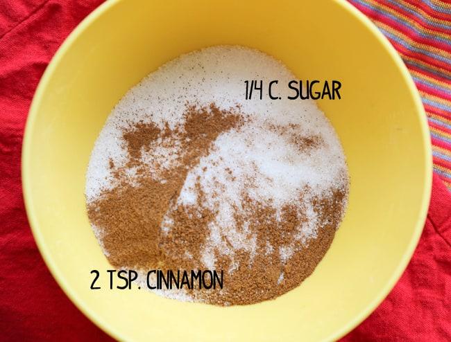 bowl with sugar and cinnamon