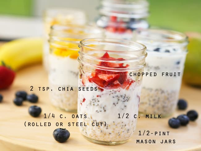 mason jars filled with oats and chopped fruit