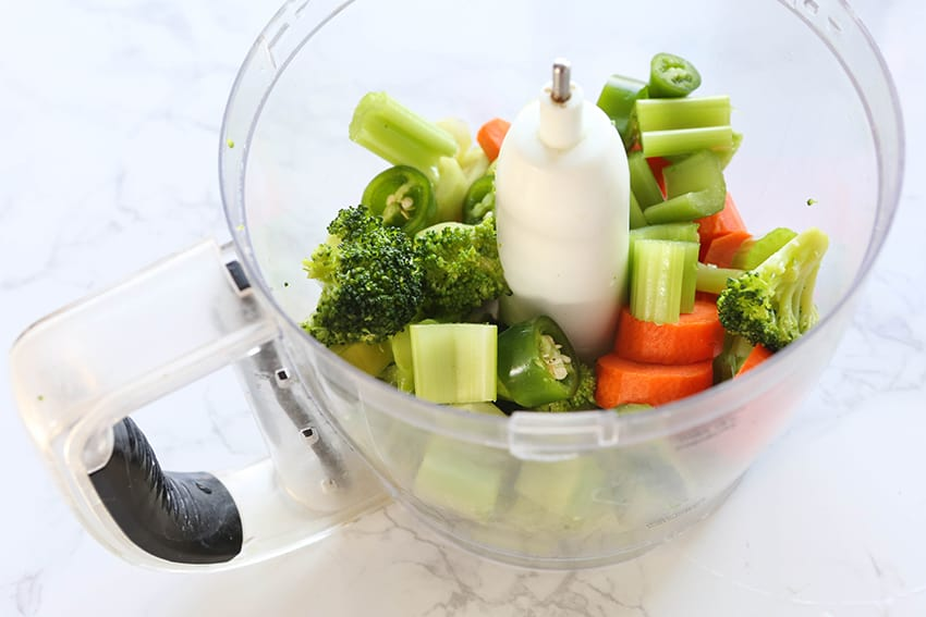 mixed chopped veggies in a food processor