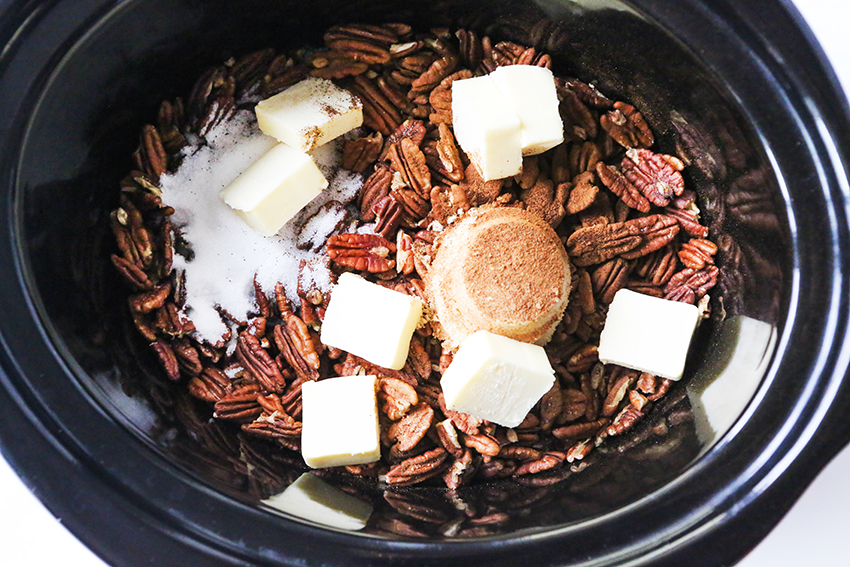 pecans, sugar and butter in a crockpot