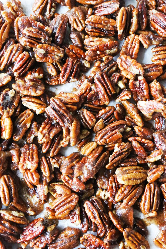 close up top view of sugared pecans