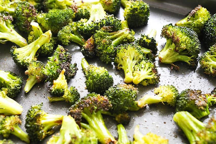 baking pan of roasted broccoli