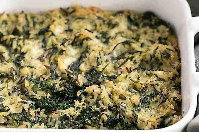 casserole dish with prepared cheesy spinach rice casserole