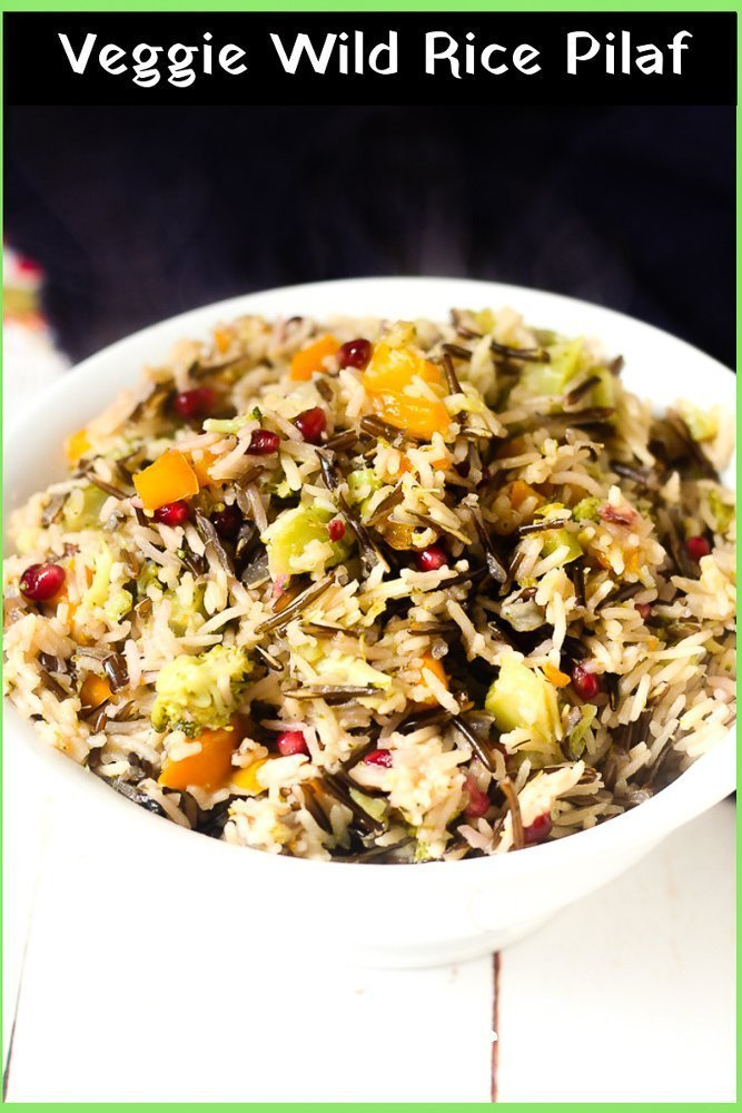 serving bowl filled with veggie wild rice pilaf