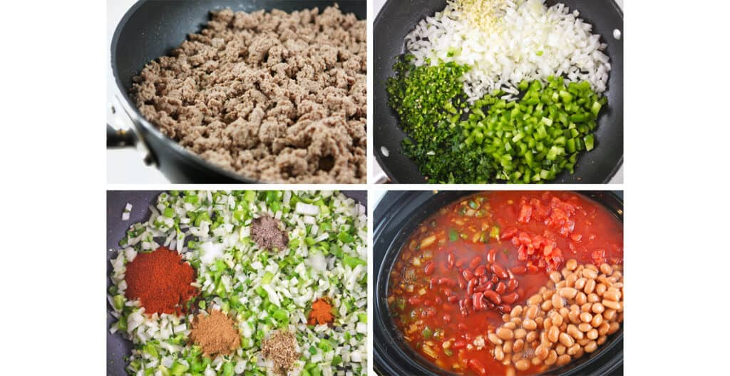 collage of chili ingredients