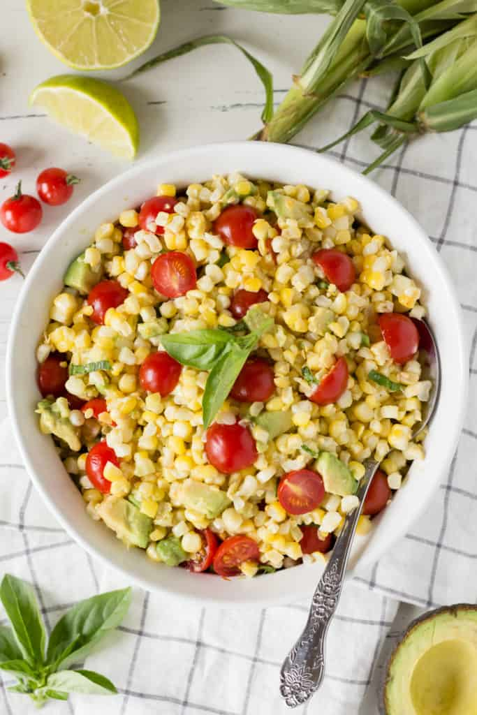 bowl of corn tomato avocado salad