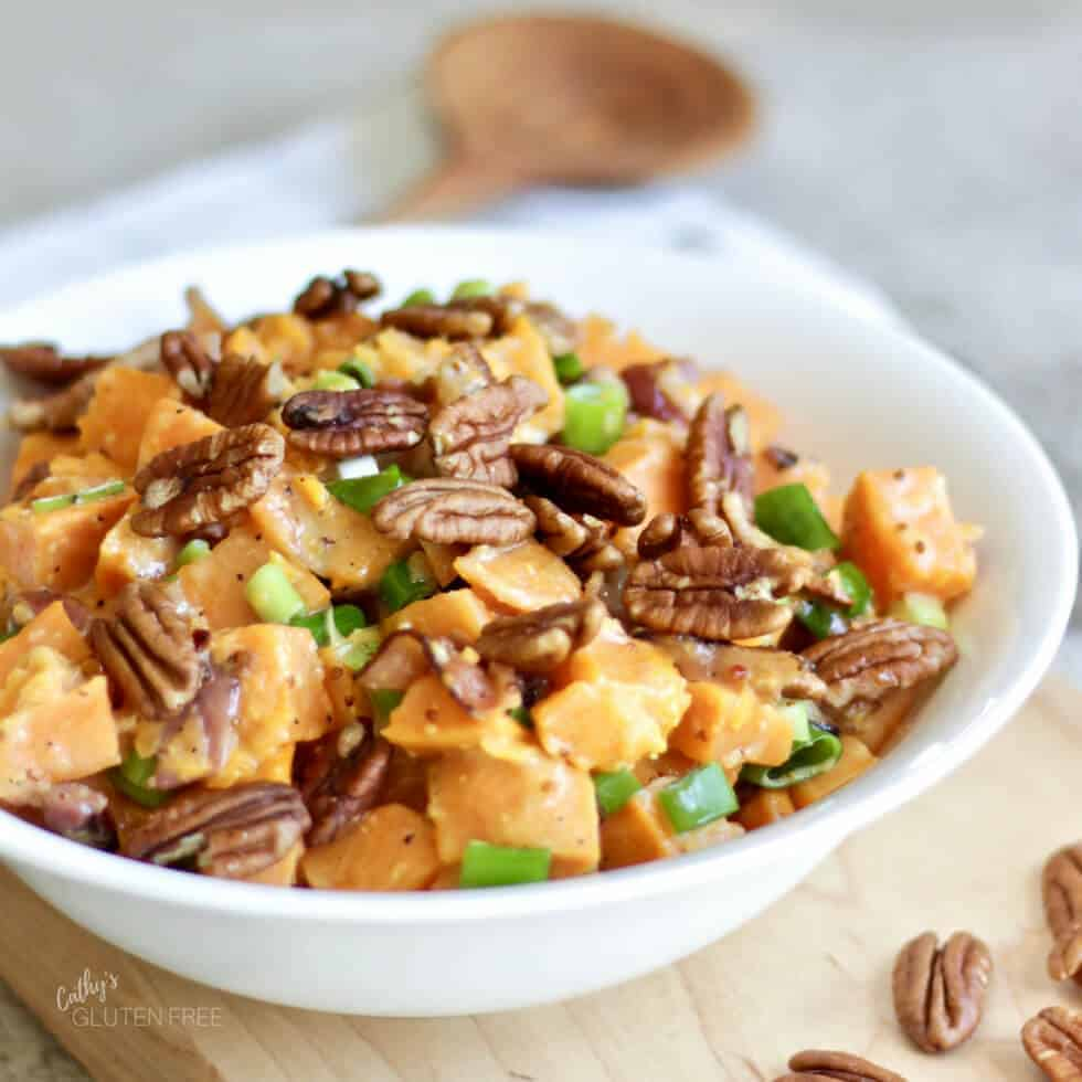 bowl of sweet potato salad with bacon