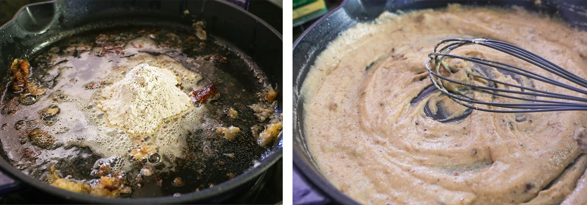 2 photos: flour added to pan drippings, whisk sitting in a smooth gravy sauce