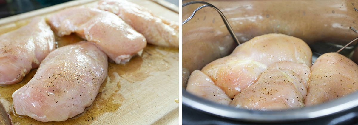 Two photos: Left is chicken breasts on a cutting board and right is chicken breasts inside Instant Pot.