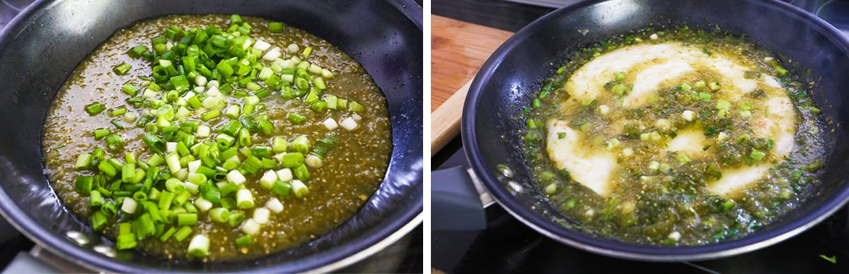 photos detailing how to create salsa verde sauce in skillet, next to a flour tortilla being dunked inside