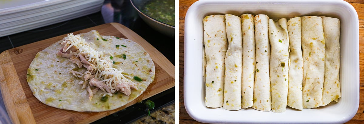 2 photos side by side detailing how to fill enchiladas and line them up in a baking dish