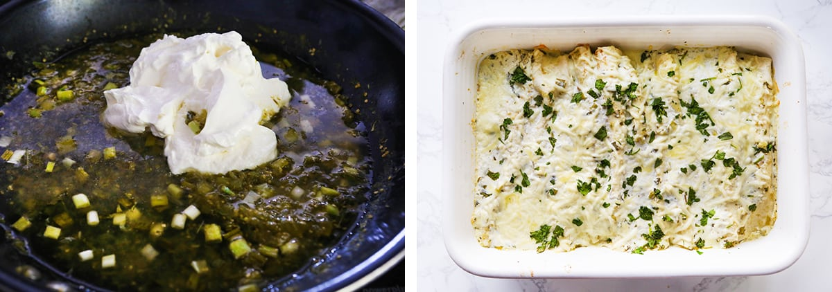 2 photos detailing how to add sour cream to the skillet, then pour it over the enchiladas before baking