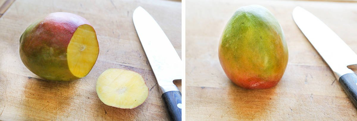 mango with top cut off on cutting board next to knife