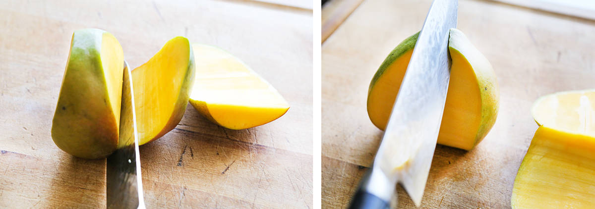 knife cutting off cheeks and sides of a mango