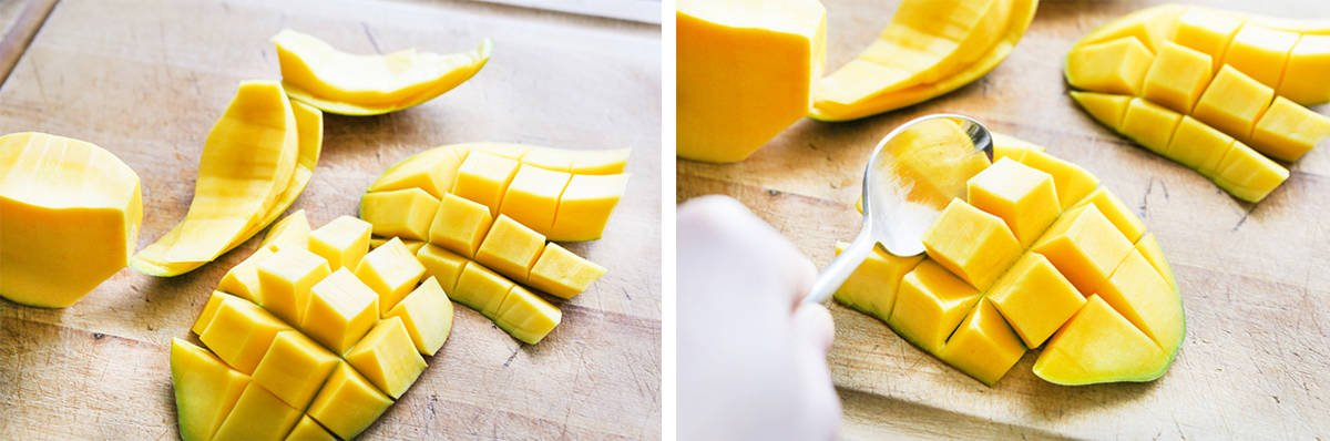 spoon scooping flesh out of a mango