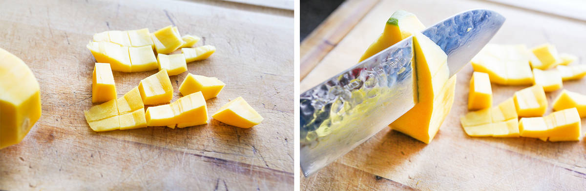 cut up mango pieces next to a knife cutting remains off the pit