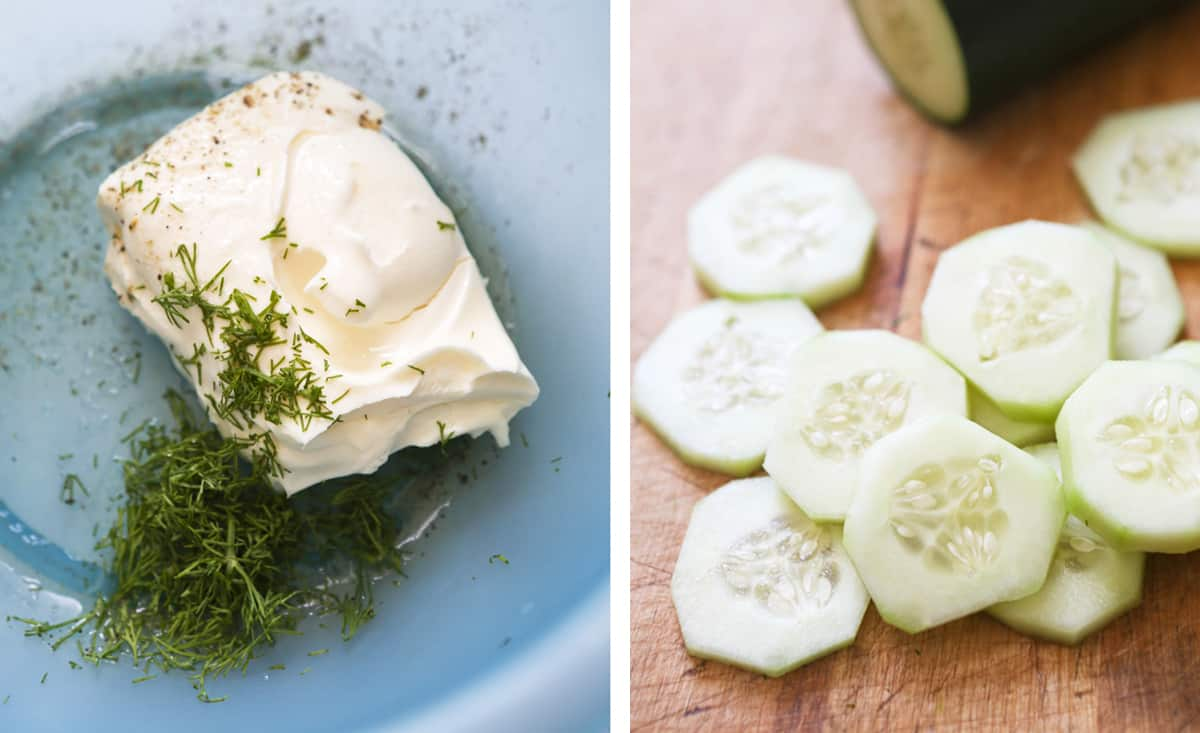 Cream cheese in a bowl with dill, next to cucumber slices on a cutting board.