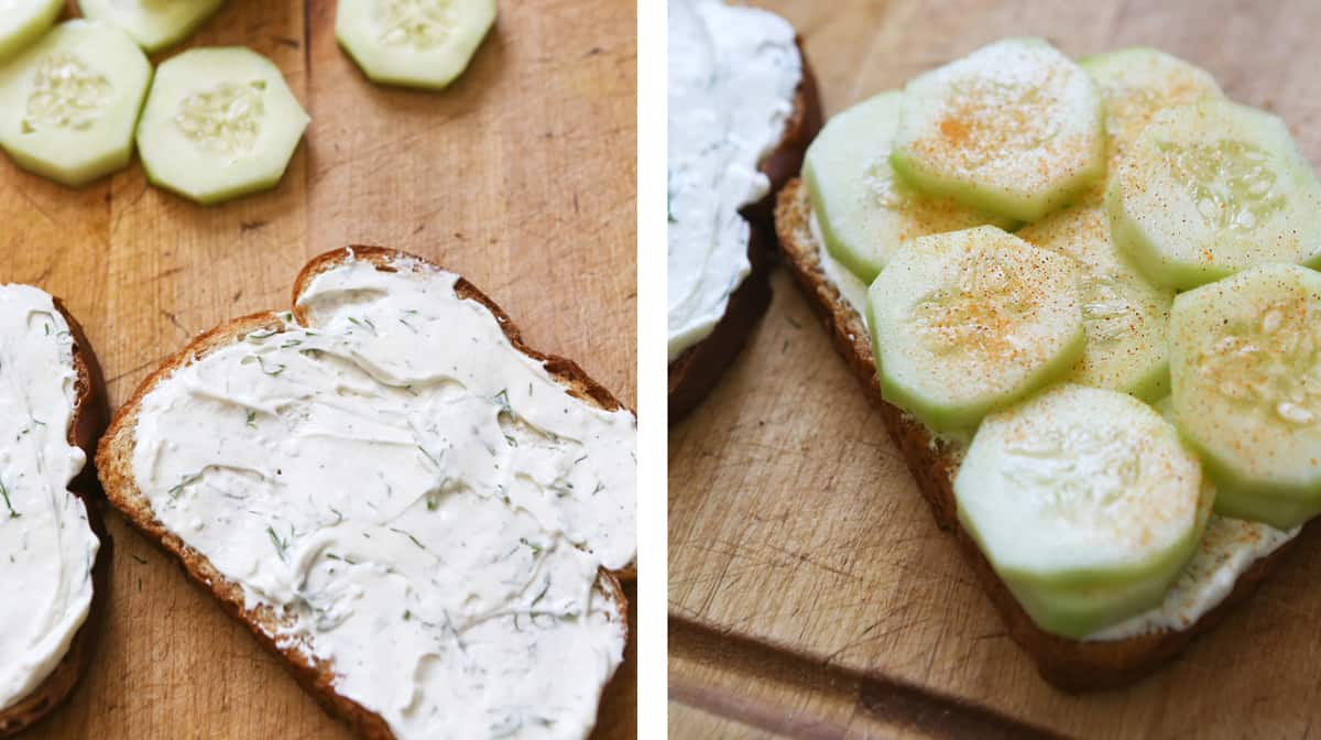 A slice of bread with cream cheese mixture next to a piece of bread with cucumber slices.