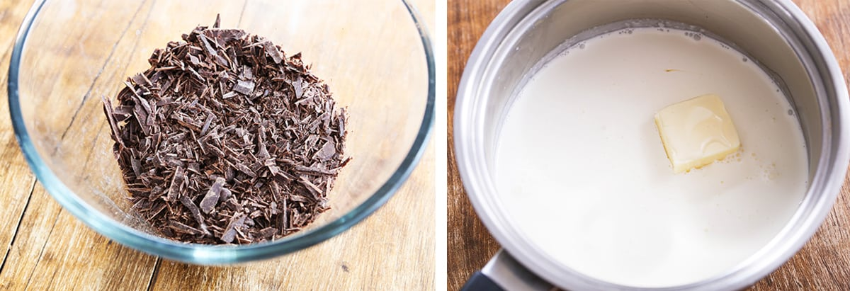 2 photos: on the left is a bowl of chopped baking chocolate. On the right is a saucepan with cream and butter.