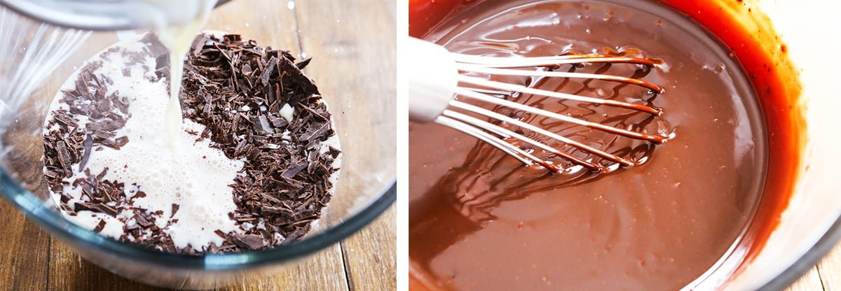 2 photos: on the left is hot cream being poured over baking chocolate in a bowl. On the right is a whisk sitting in a bowl of ganache.