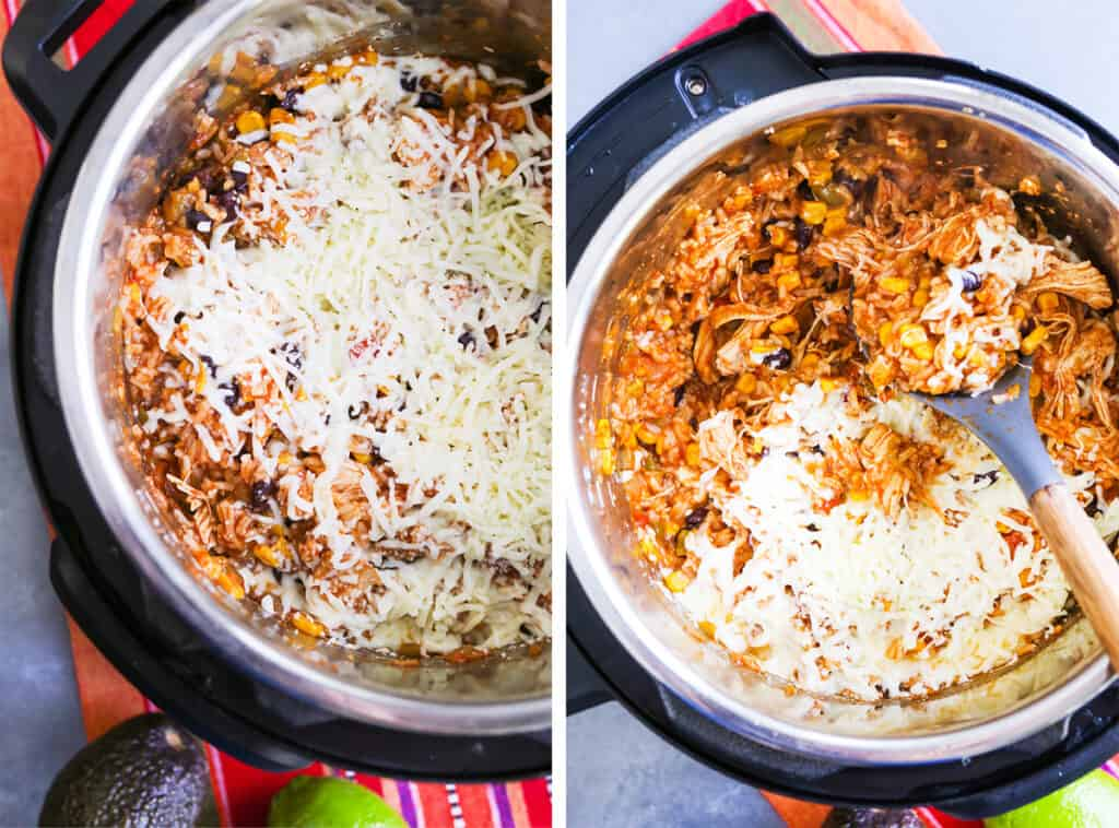Two photos: One with cheese over chicken chipotle ingredients in an Instant pot and the other with a mixing spoon inside.