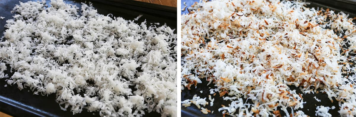 Photo of coconut flakes on a baking sheet next to a photo of the same coconut after being toasted.