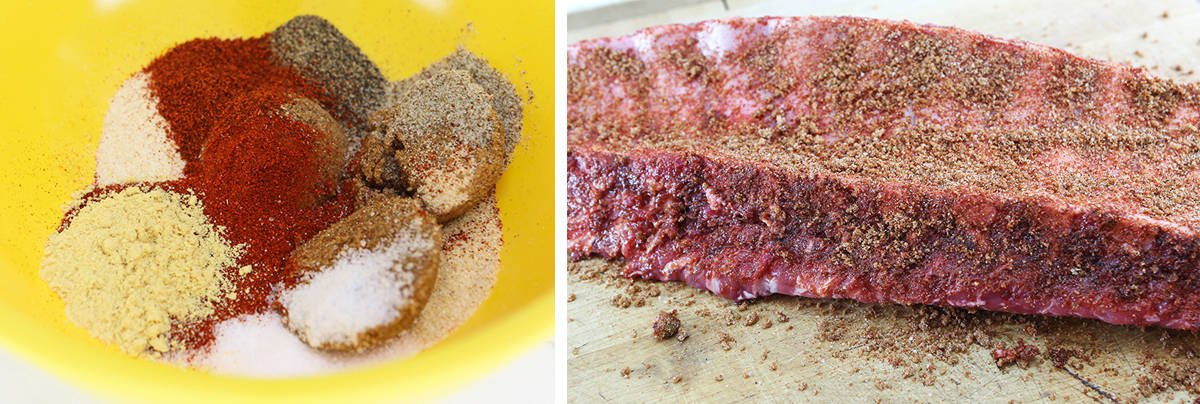 Two photos: Bowl filled with spices and another of the final rub spread over the surface of a rack of ribs.