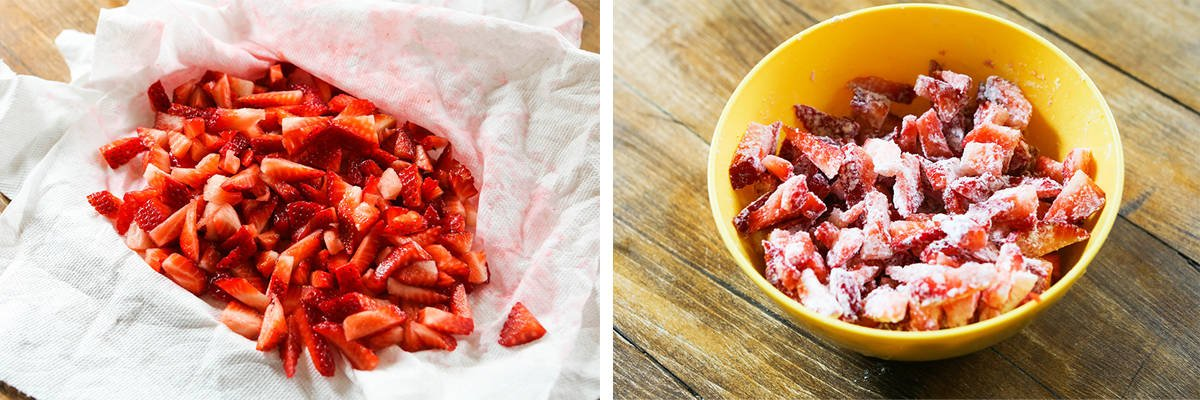 Left photo: Strawberries after being patted dry in a paper towel. Right photo: Chopped strawberries mixed with flour in a bowl.