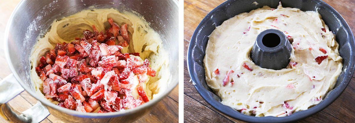 Left photo: Cake batter with chopped strawberries in mixing bowl. Right photo: Mixed batter in bundt pan.