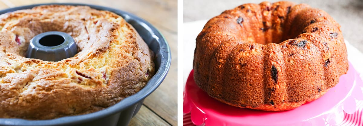 Left photo: Baked strawberry cake in a bundt pan. Right photo: Bundt cake inverted onto a cake stand.