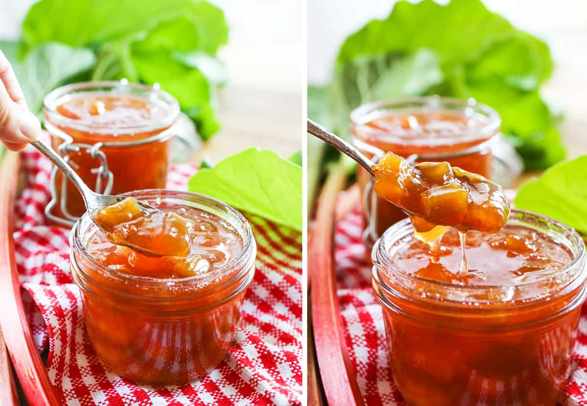 Two photos of jars filled with jam.