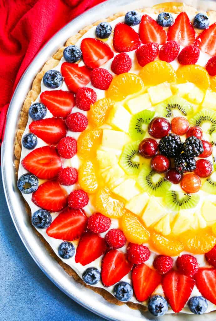 Colorful fruit pizza from the top view
